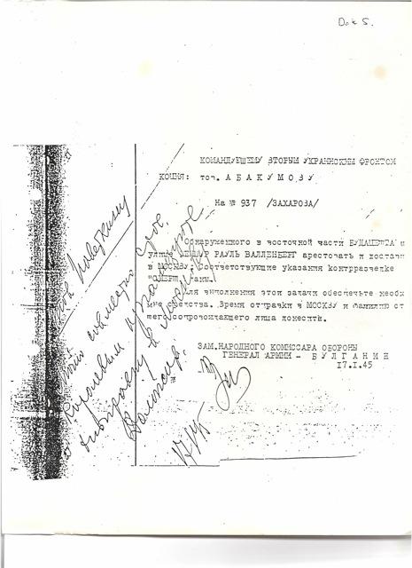 Raoul Wallenberg's arrest order