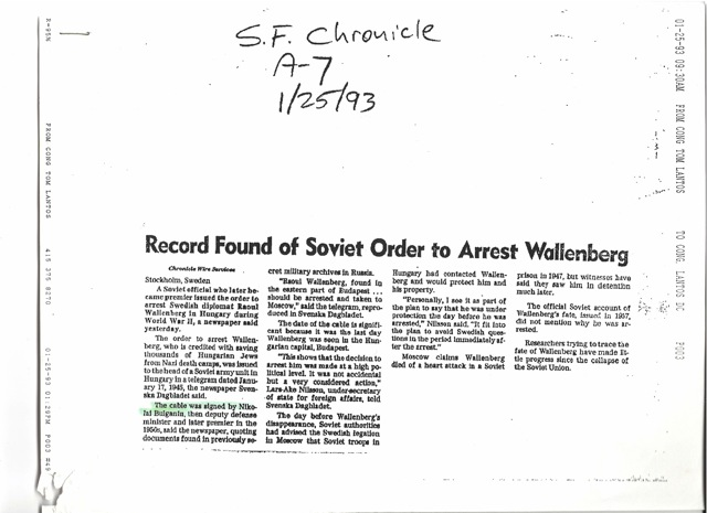 Article from SF Chronicle about the discovery of this document