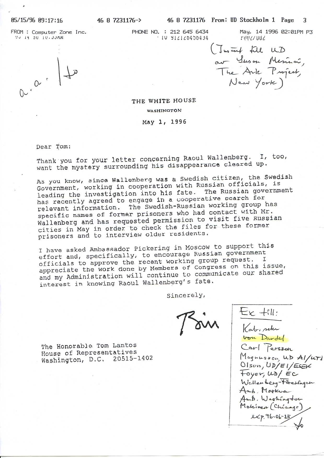 Letter to tom lantos from bill clinton searching for raoul dear tom thank you for your expocarfo Images