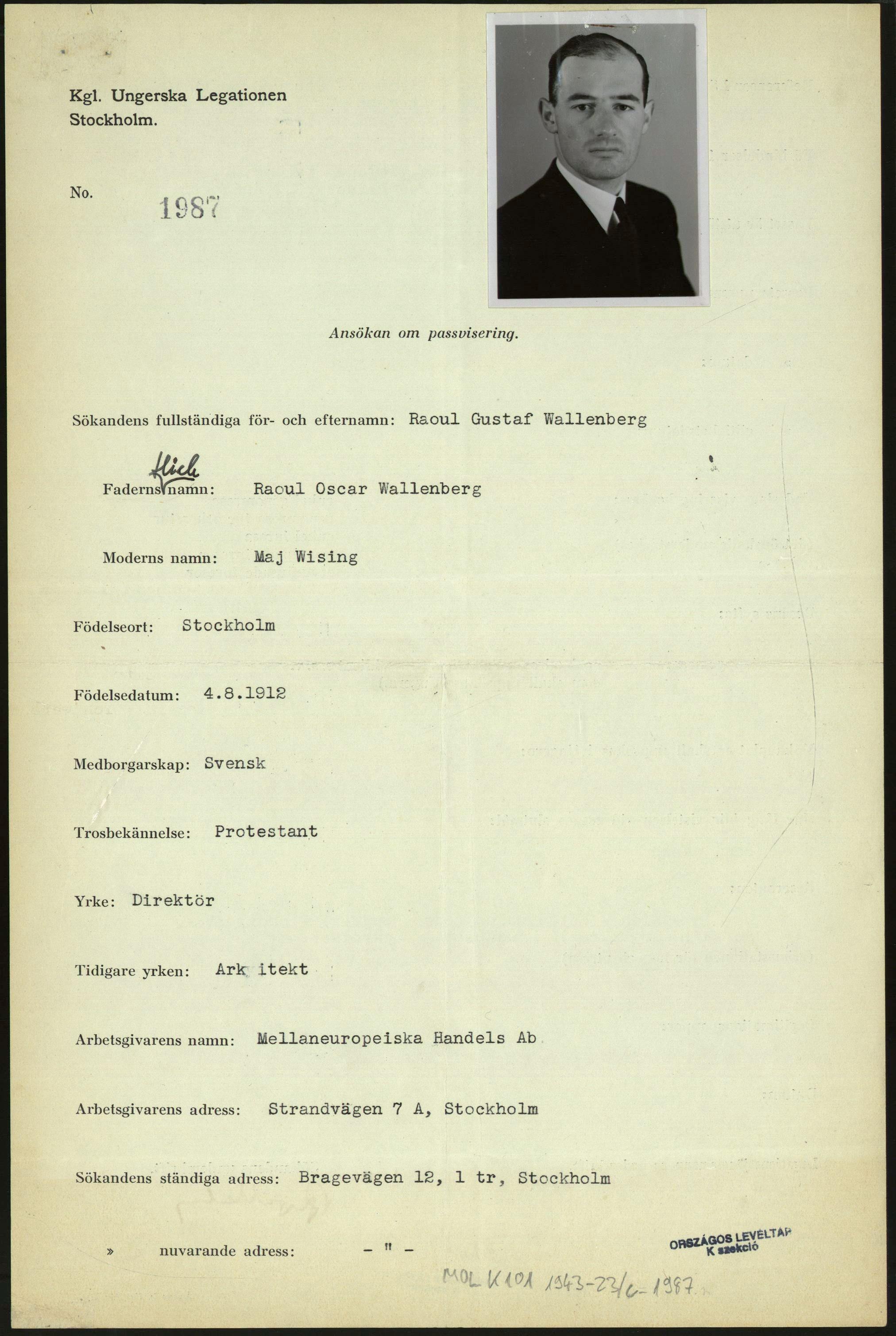 Wallenberg Of raoul wallenberg Raoul Wallenberg Passports